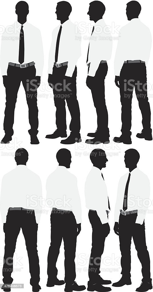 Multiple silhouette of a businessman royalty-free stock vector art