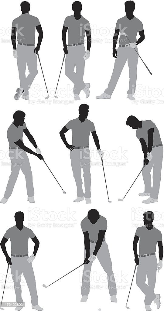 Multiple silhouette of a golfer royalty-free stock vector art
