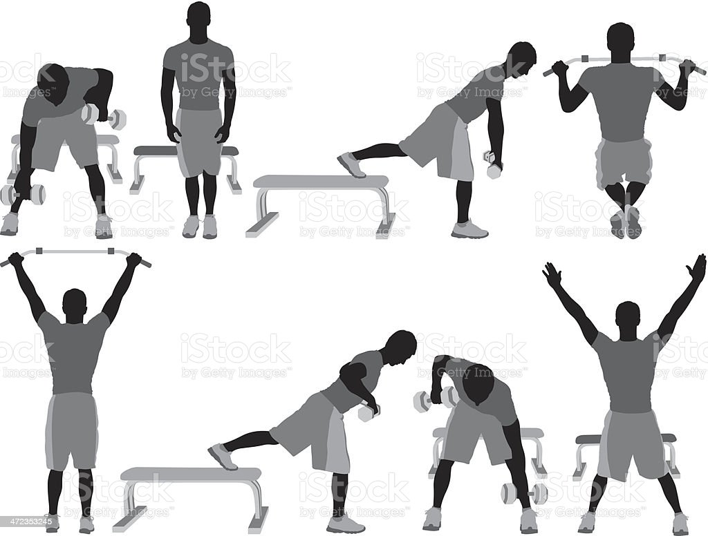 Multiple silhouette of a man exercising royalty-free stock vector art