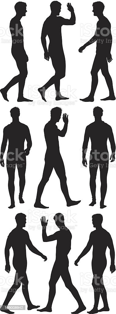 Multiple silhouette of a man walking and waving hand royalty-free stock vector art