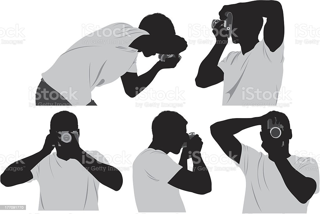 Multiple silhouette of a photographer vector art illustration