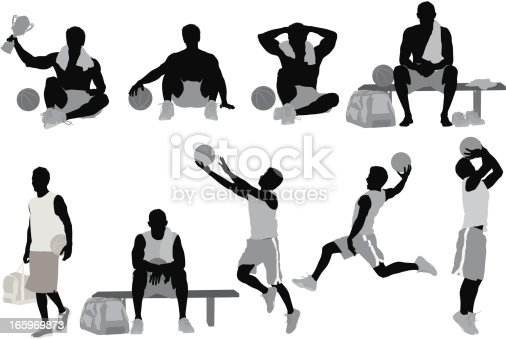 Multiple silhouette of basketball players in action