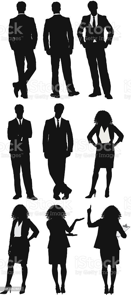 Multiple silhouette of businessman and businesswoman vector art illustration