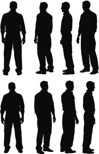 Multiple silhouette of men standing