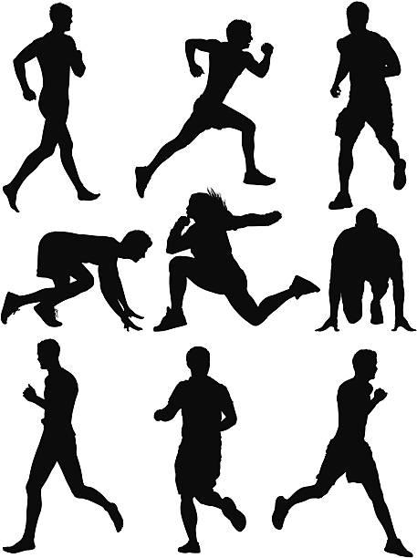 multiple silhouette of sportsmen in action - start stock illustrations