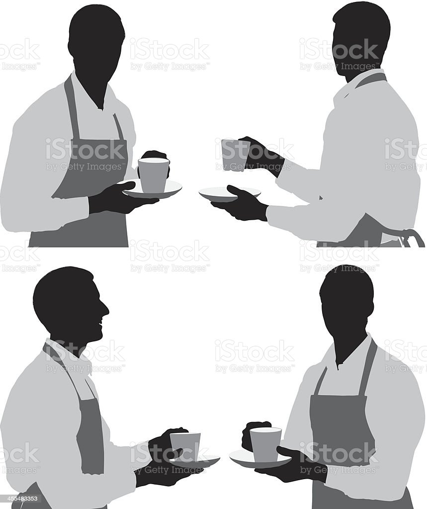 Multiple silhouettes of a barista vector art illustration