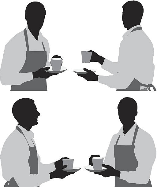 multiple silhouettes of a barista - barista stock illustrations, clip art, cartoons, & icons