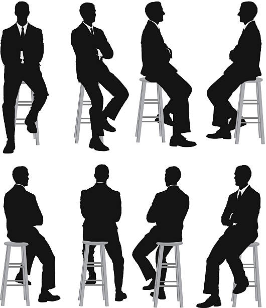 stockillustraties, clipart, cartoons en iconen met multiple silhouettes of a businessman sitting - overhemd en stropdas