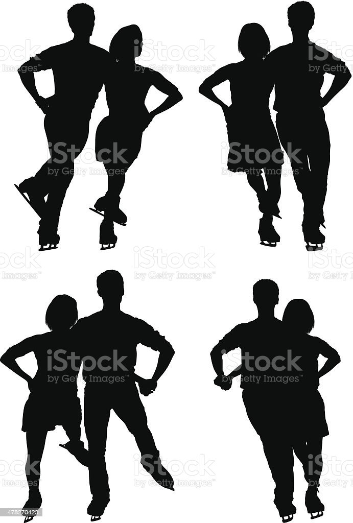 Multiple silhouettes of a couple ice skating royalty-free stock vector art