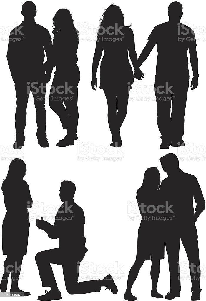 Multiple silhouettes of a couple vector art illustration