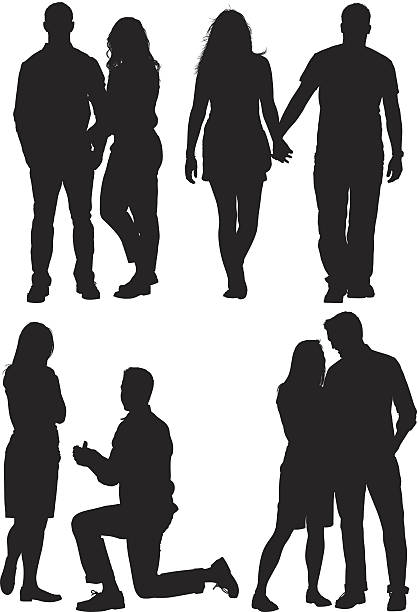 multiple silhouettes of a couple - couple 幅插畫檔、美工圖案、卡通及圖標