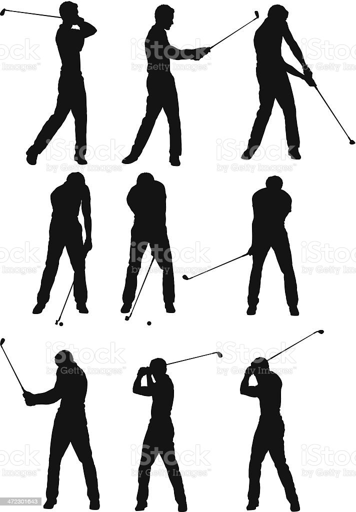 Multiple silhouettes of a golfer playing royalty-free multiple silhouettes of a golfer playing stock vector art & more images of activity