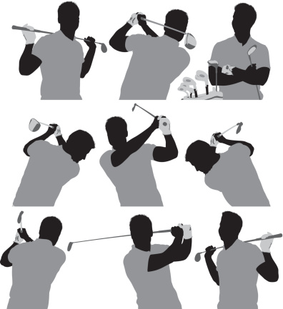 Multiple silhouettes of a golfer