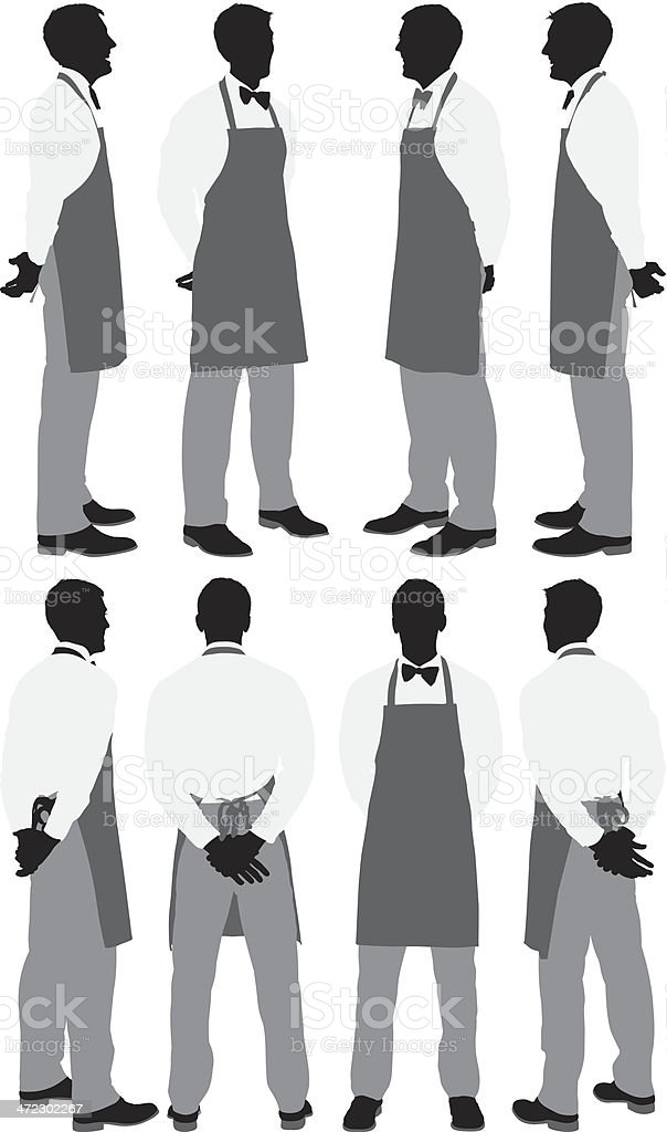 Multiple silhouettes of a waiter posing vector art illustration