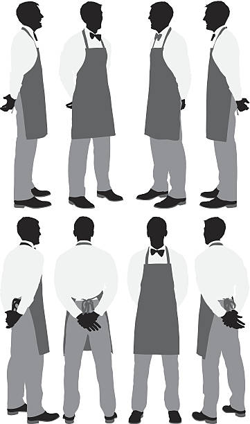 multiple silhouettes of a waiter posing - barista stock illustrations, clip art, cartoons, & icons