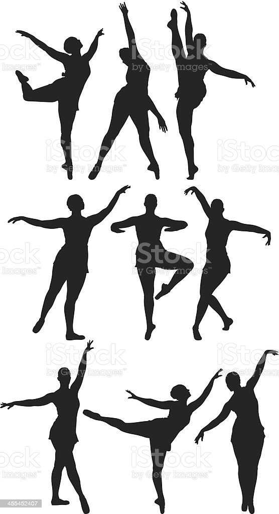 Multiple silhouettes of a woman dancing royalty-free stock vector art
