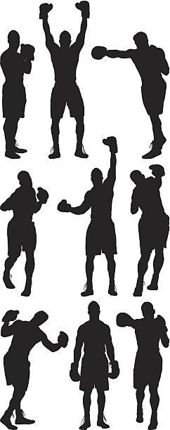 Multiple silhouettes of boxer vector art illustration