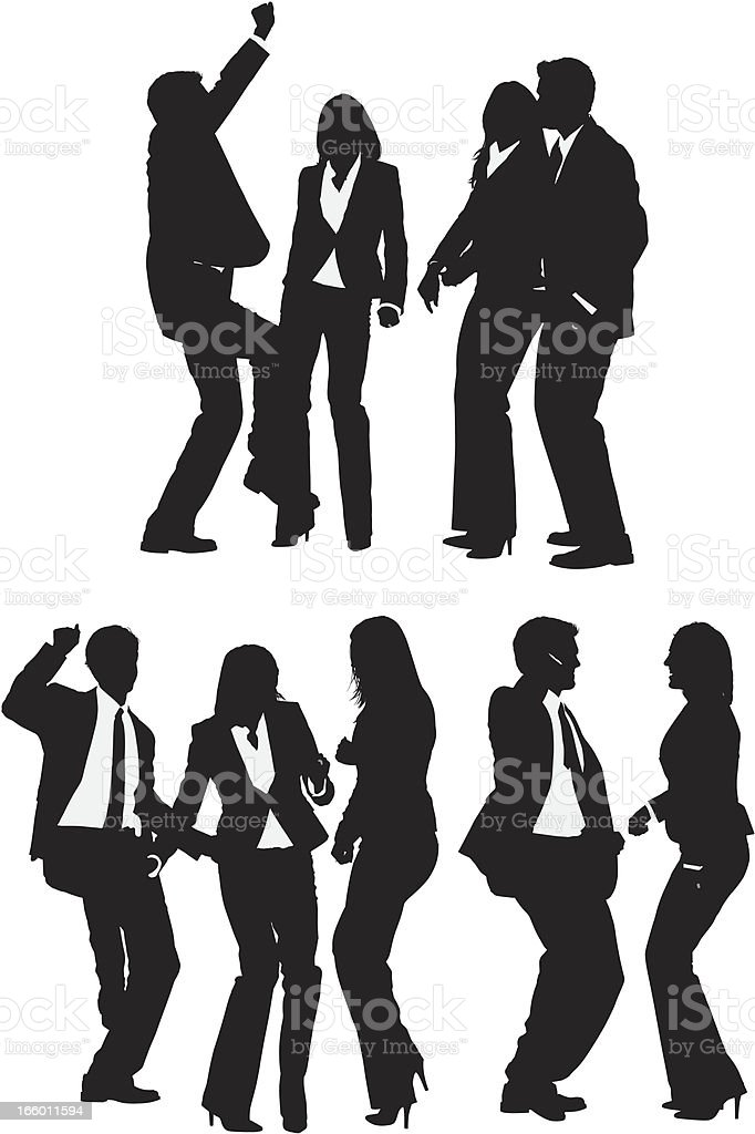 Multiple silhouettes of business people dancing royalty-free stock vector art