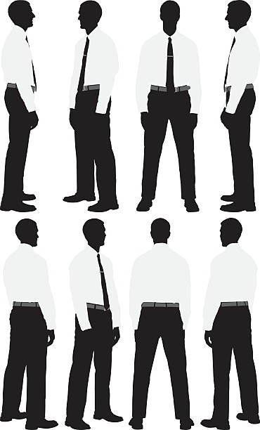 illustrazioni stock, clip art, cartoni animati e icone di tendenza di più modelli di uomo d'affari in piedi - ritratto 360 gradi