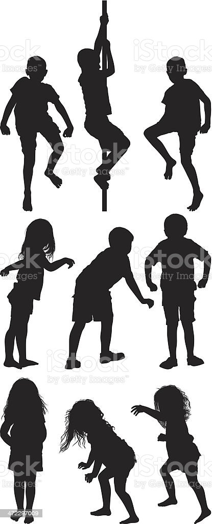Multiple silhouettes of children playing royalty-free stock vector art