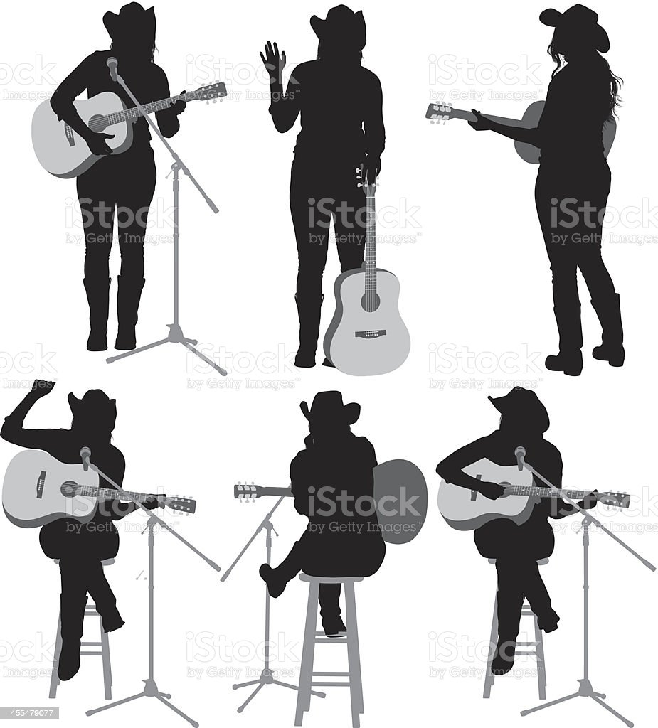 Multiple silhouettes of cowgirl with guitar royalty-free stock vector art