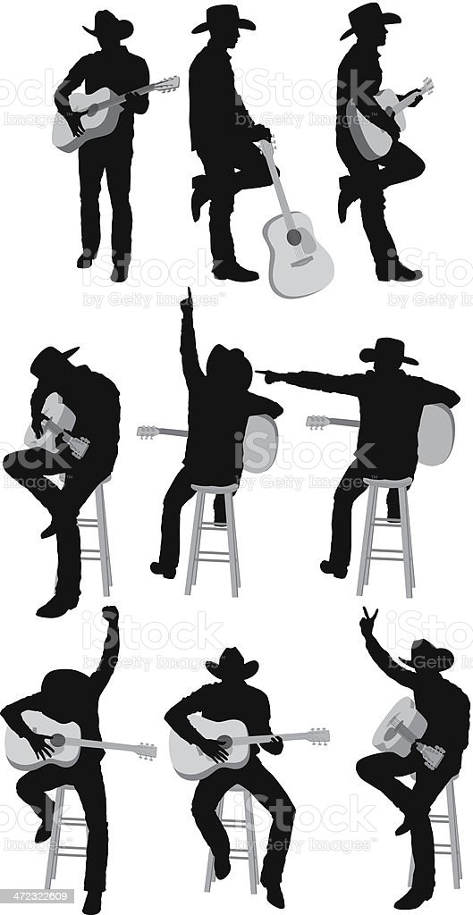Multiple silhouettes of guitarist royalty-free multiple silhouettes of guitarist stock vector art & more images of acoustic guitar