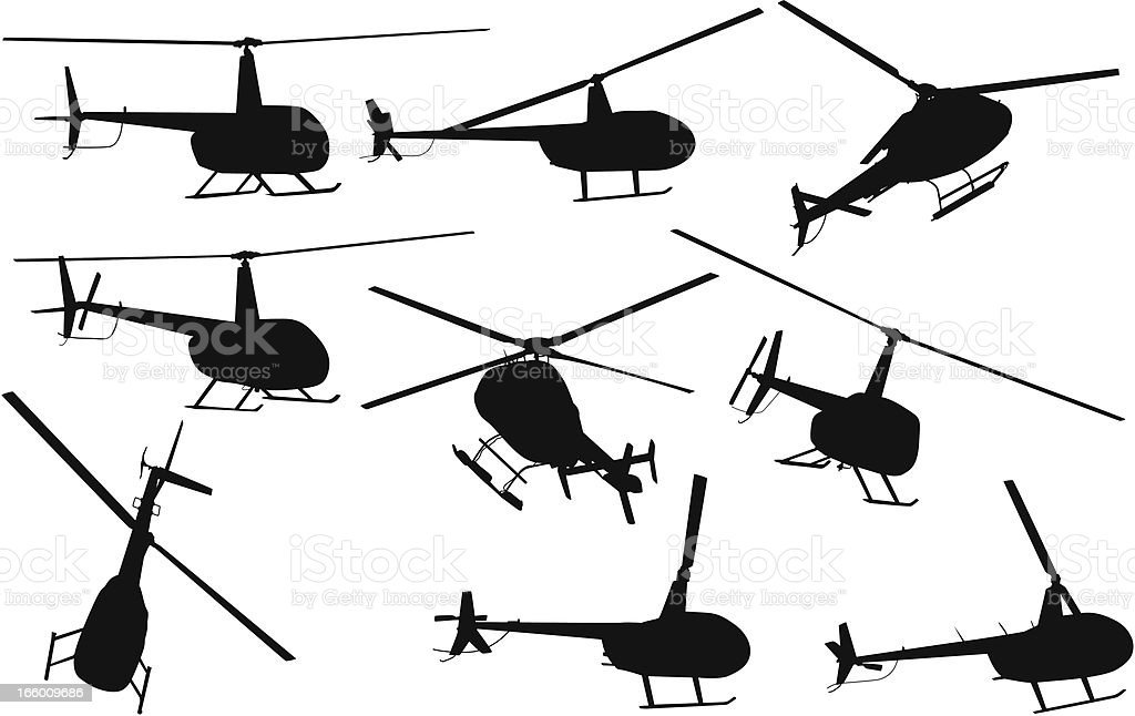 Multiple silhouettes of helicopters vector art illustration