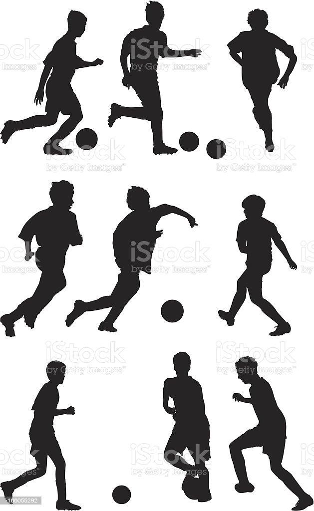 Ilustración de Múltiples Siluetas De Niños Jugando Al Fútbol y más ...