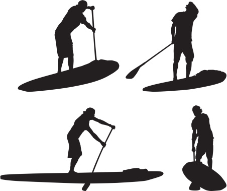 Multiple silhouettes of man on paddleboard