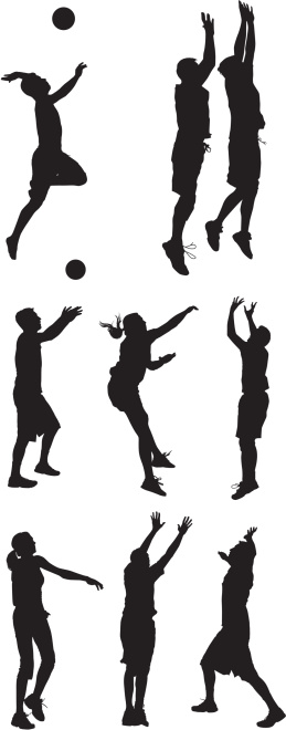 Multiple silhouettes of men and women playing volleyball