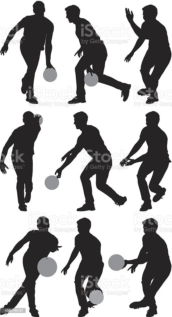 Multiple silhouettes of men bowling royalty-free stock vector art