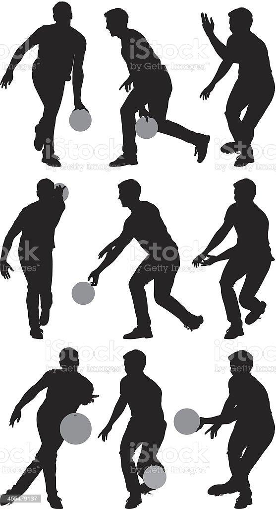 Multiple silhouettes of men bowling vector art illustration