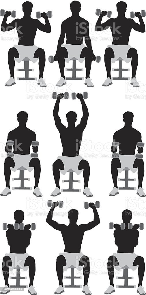 Multiple silhouettes of men exercising royalty-free stock vector art