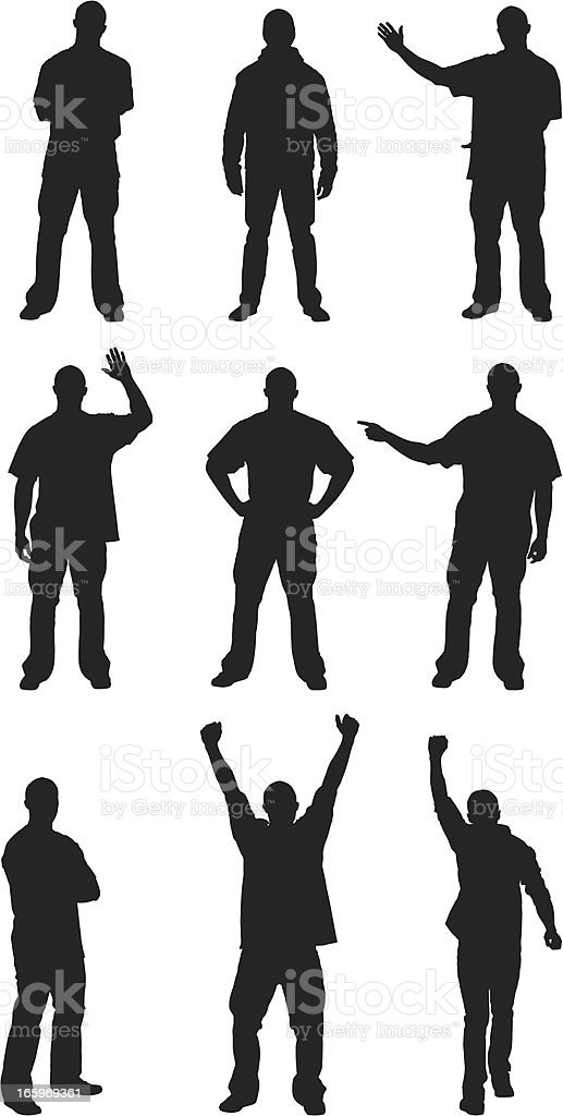 Multiple silhouettes of men posing royalty-free stock vector art