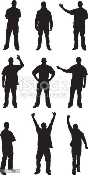 Multiple silhouettes of men posing