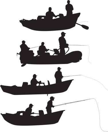 Multiple silhouettes of people fishing