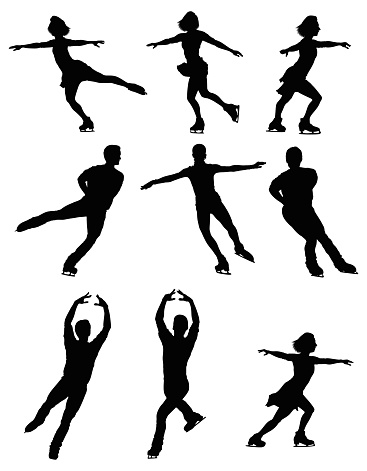 Multiple silhouettes of people ice skating