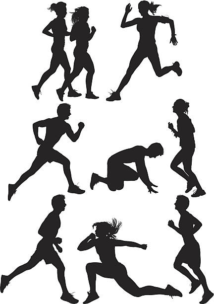 multiple silhouettes of people running - start stock illustrations