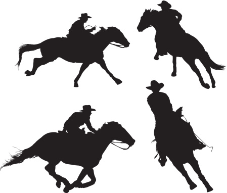 Multiple silhouettes of rodeo
