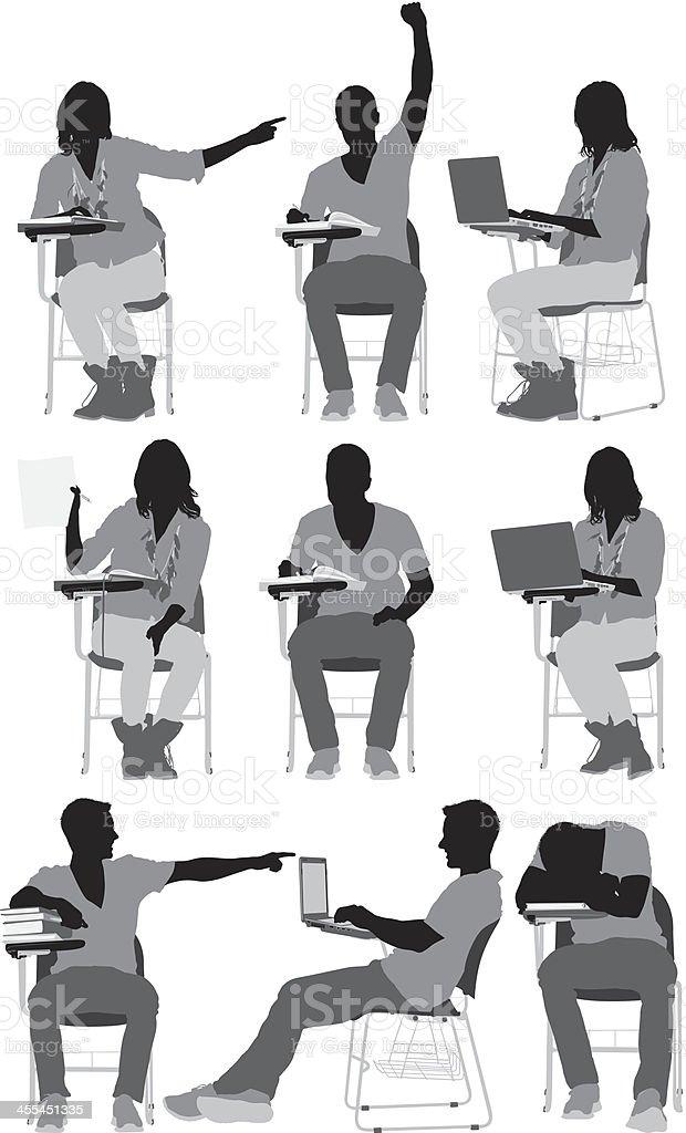 Plusieurs silhouettes d tudiants assis sur une chaise for Assis sur une chaise