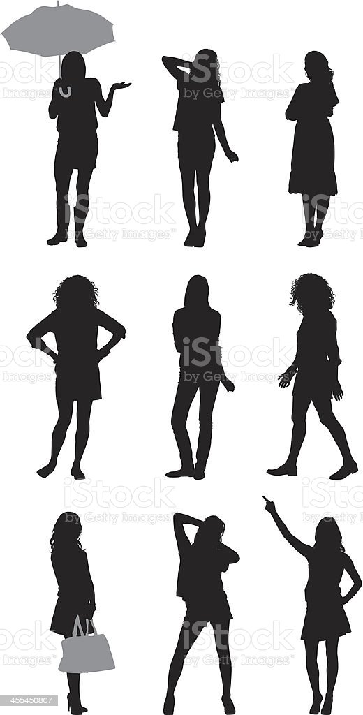 Multiple silhouettes of women posing royalty-free stock vector art