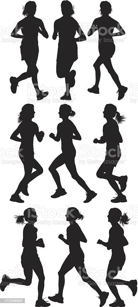 ilustração de várias silhuetas de mulheres correndo e mais banco de