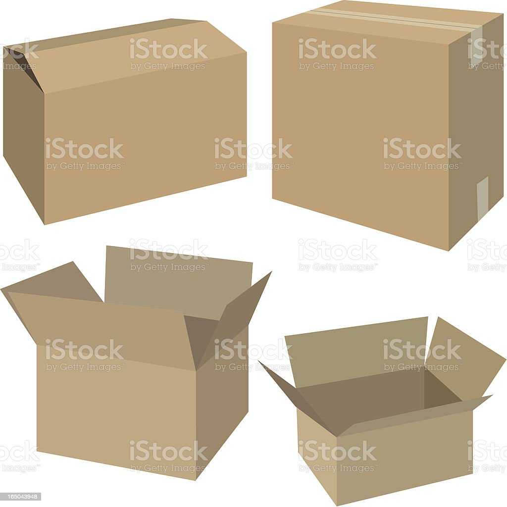Multiple sizes of cardboard boxes vector art illustration