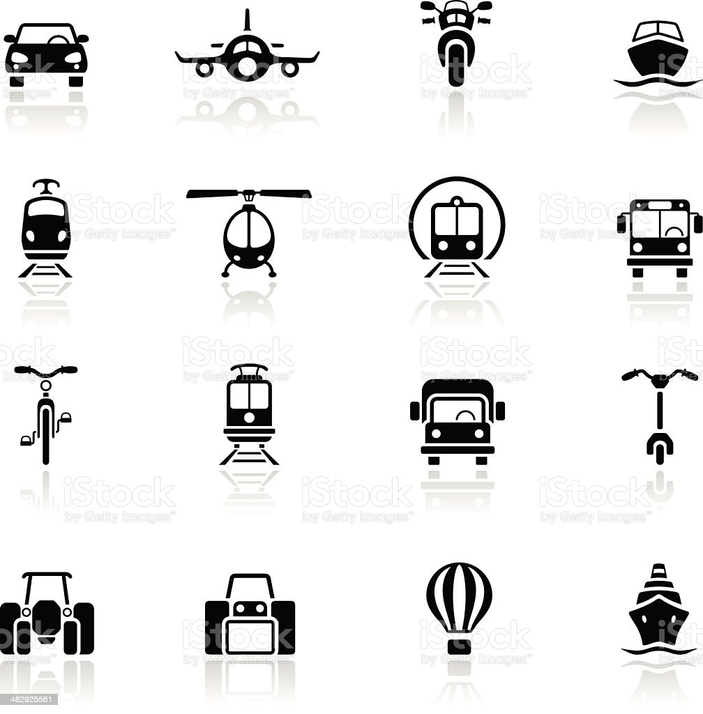 Multiple types of transportation icons in black vector art illustration