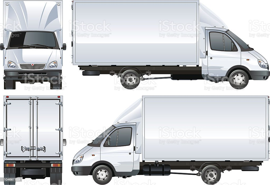 Multiple views of a vector delivery truck vector art illustration