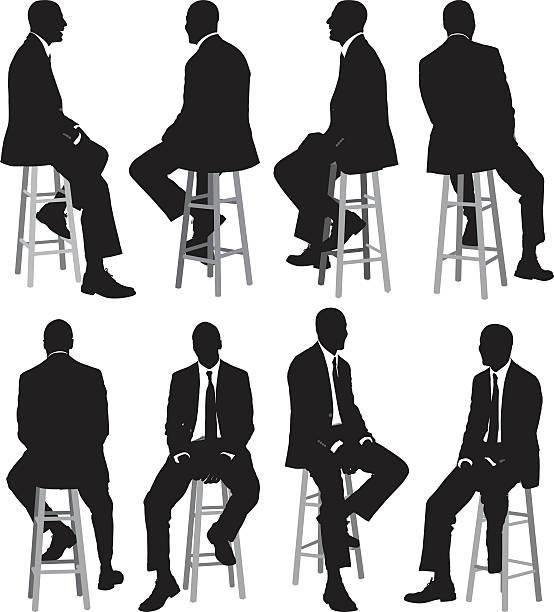 illustrazioni stock, clip art, cartoni animati e icone di tendenza di più vista di un uomo d'affari seduto su sgabello - ritratto 360 gradi