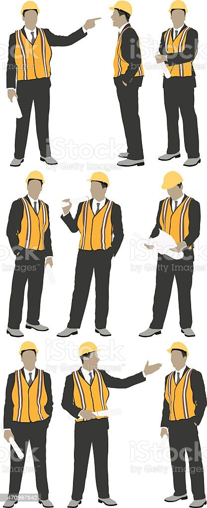 Multiple views of male architect vector art illustration