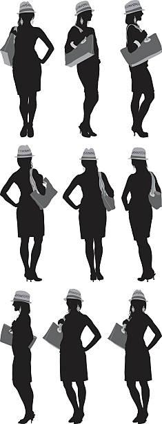 illustrazioni stock, clip art, cartoni animati e icone di tendenza di più vista di donna in piedi - ritratto 360 gradi