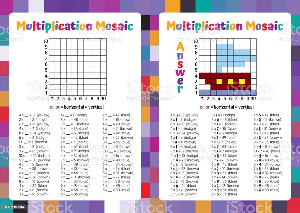 Carpma Mozaik Matematik Bulmaca Calisma Sayfasi Egitici Bir Oyun