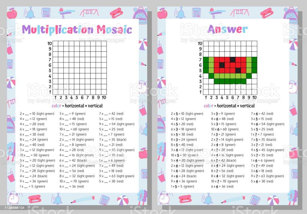 Carpma Mozaik Matematik Bulmaca Calisma Sayfasi Egitim Oyunu